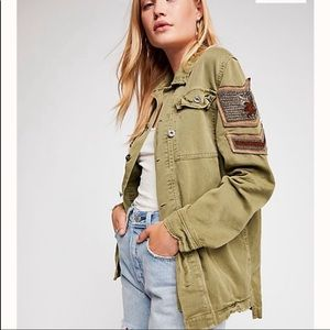 Free People Embellished Military Jacket M